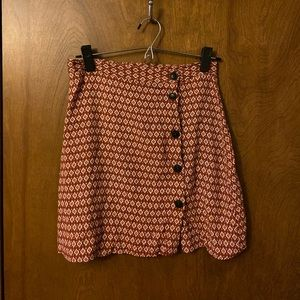 Orange Pattern High Waisted Skirt